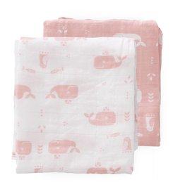 Fresk Hydrofiele doeken set 2 stuks 120x120cm Walvis mellow rose - Fresk