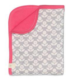 Fresk Baby deken Blomster grijs / roze 80x100cm - Fresk