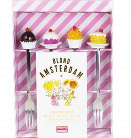 "Blond Amsterdam Set van 4 Taart vorkjes ""Even Bijkletsen"" - Blond Amsterdam"