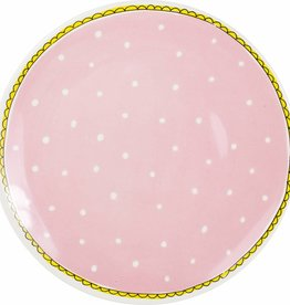 "Blond Amsterdam Dinerbord 26cm Roze Stip ""Even Bijkletsen"" - Blond Amsterdam"