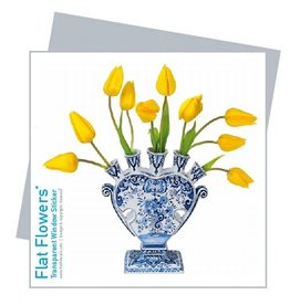 Flat Flowers Wenskaart + Raamsticker Tulpenvaas - Flat Flowers