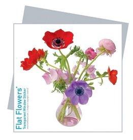Flat Flowers Wenskaart + Raamsticker Anemonen Roze - Flat Flowers
