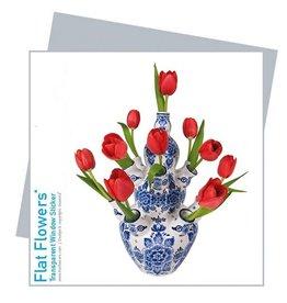 Flat Flowers Wenskaart + Raamsticker Delfts Blauwe vaas met rode Tulpen - Flat Flowers