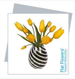 Flat Flowers Wenskaart + Raamsticker Tulpen geel - Flat Flowers
