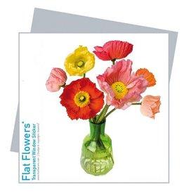 Flat Flowers Wenskaart + Raamsticker Klaprozen - Flat Flowers