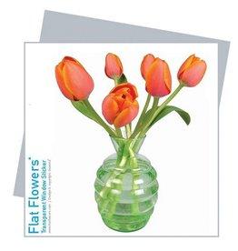 Flat Flowers Wenskaart + Raamsticker Tulpen oranje - Flat Flowers