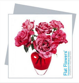 Flat Flowers Wenskaart + Raamsticker Roze Rozen Mix - Flat Flowers