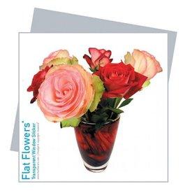 Flat Flowers Wenskaart + Raamsticker Rozen - Flat Flowers