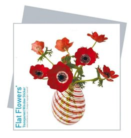 Flat Flowers Wenskaart + Raamsticker Rode Anemonen - Flat Flowers
