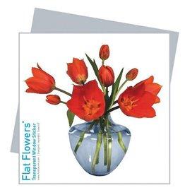 Flat Flowers Wenskaart + Raamsticker Tulpen in blauwe Vaas - Flat Flowers