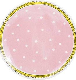 """Blond Amsterdam Ontbijtbord 22cm Roze Stip """"Even Bijkletsen"""" - Blond Amsterdam"""