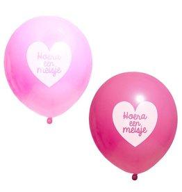 Ballonnen blauw Hoera een Meisje 10 stuks