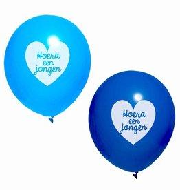 Ballonnen blauw Hoera een Jongen 10 stuks
