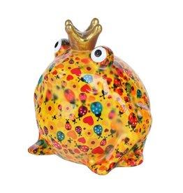 Pomme-Pidou Spaarpot Kikker Freddy Oranje met Lieveheersbeestjes - Pomme-Pidou