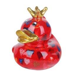 Pomme-Pidou Spaarpot Eend Ducky rood met hartjes - Pomme-Pidou