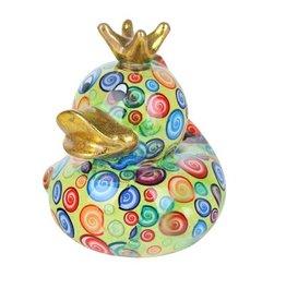 Pomme-Pidou Spaarpot Eend Ducky groen met cirkels - Pomme-Pidou