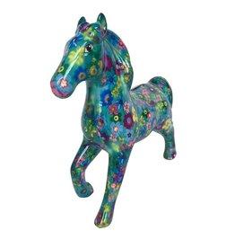 Pomme-Pidou Spaarpot Paard Lucky blauw met bloemmetjes - Pomme-Pidou