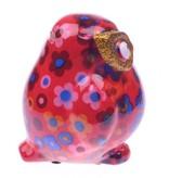 Pomme-Pidou Spaarpot Uil Klein rood met bloemmetjes - Pomme-Pidou