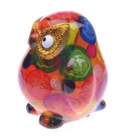 Pomme-Pidou Spaarpot Uil Klein oranje met cirkels - Pomme-Pidou