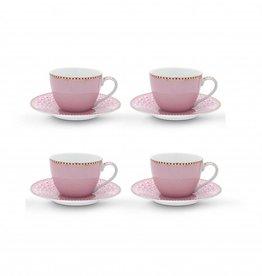 Pip Studio Set van 4 Espresso Kop en Schotels roze - Pip Studio