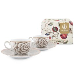 Pip Studio Set van 2 Espresso Kop & Schotels Spring to Life off White - Pip Studio