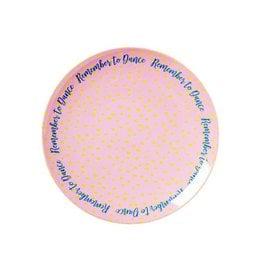 Rice Gebaksbordje Melamine roze met tekst - Rice