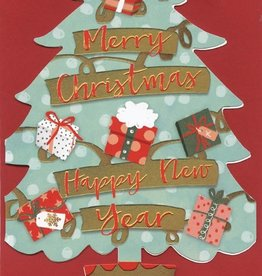 Kerstkaarten in doos Luxe Kerstbomen (blauw) met Envelop