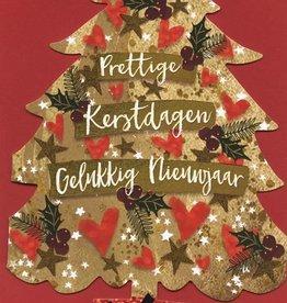Kerstkaarten in doos Luxe Kerstbomen (goud) met Envelop