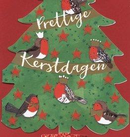 Kerstkaarten in doos Luxe Kerstbomen (groen met vogels) met Envelop