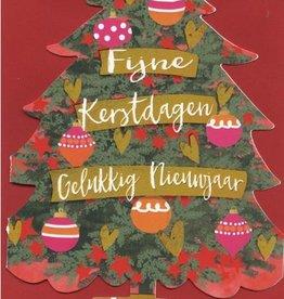 Kerstkaarten in doos Luxe Kerstbomen (d.groen met kerstballen) met Envelop