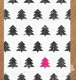 PeperMints Kerstkaart Kerstbomen zwart - PeperMints