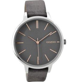 OOZOO Horloge grijs rosé zilver 42mm C9210 - OOZOO