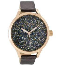 OOZOO Horloge Silver Grey Rose Glitter 43mm C8902 - OOZOO