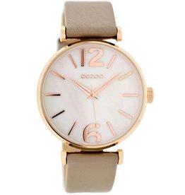 OOZOO Horloge taupe / rosé / white pearl 40mm C8918 - OOZOO