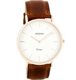 OOZOO Horloge Vintage brown / white / rosé 40mm C7760 - OOZOO