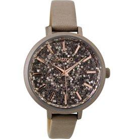 OOZOO Horloge taupe glitter 38mm C9222 - OOZOO