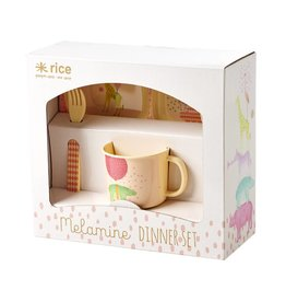 Rice Melamine Kinder Servies in Cadeauverpakking roze - Rice