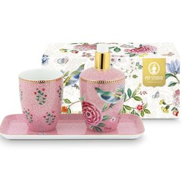 Pip Studio Set van 3 Badkameraccessoires Floral Good Morning roze - Pip Studio