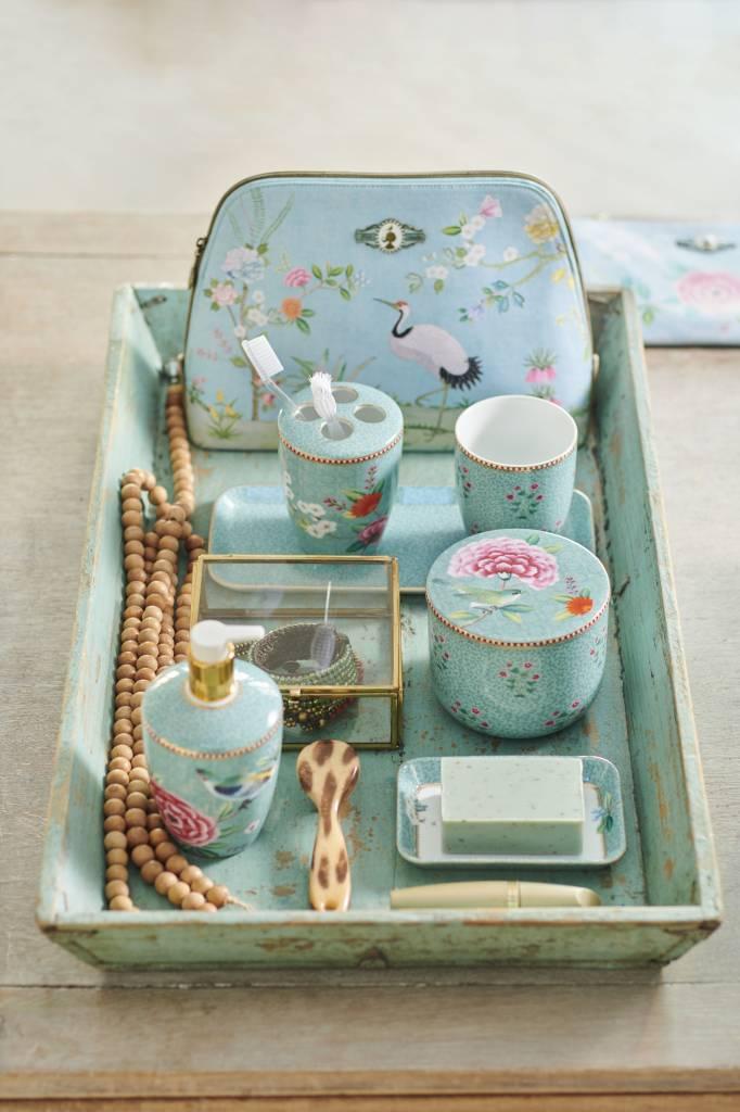 Pip Studio Platte Toilettas groot Floral Good Morning blauw - Pip Studio