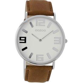 OOZOO Horloge bruin wit 42mm C8843 - OOZOO