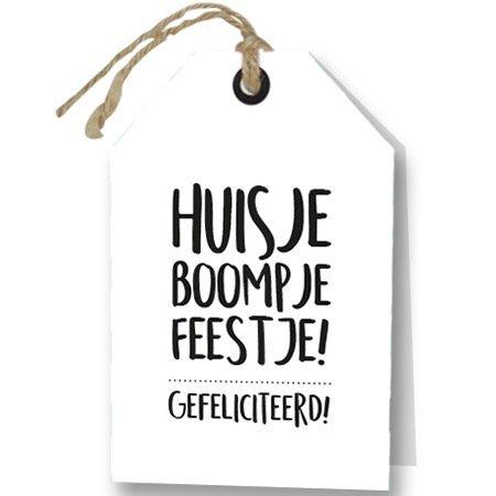 Wenskaart Huisje Boompje Feestje! Gefeliciteerd - Rebel30