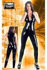 Black Level Mouwloze lak overall met openstaande kraag