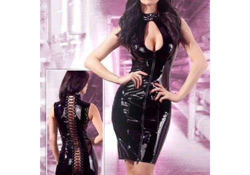 Black Level Zwarte lak jurk met ritsen