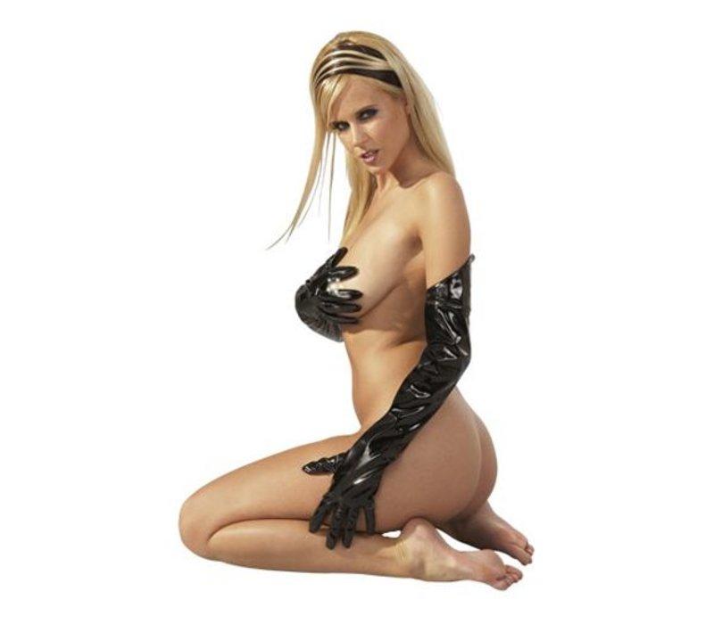 Lak handschoenen zwart