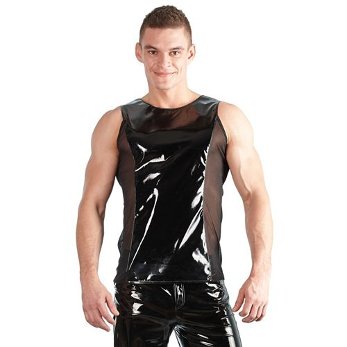 Black Level Wetlook Hemd Met Netstof Gedeeltes