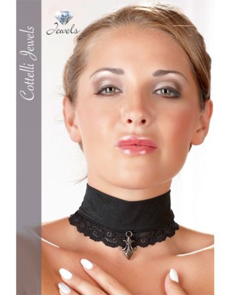 Cottelli Collection Kanten Halsband met versiersel