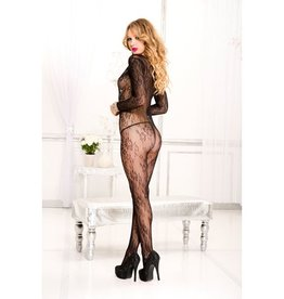 Music Legs Long sleeve lace crotchless bodystocking