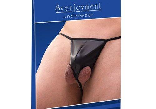 Svenjoyment Underwear Wetlook String Met Testikelgaten - Zwart