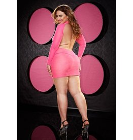 Lapdance Lingerie Roze Mini Jurkje Met Open Rug - Plus Size
