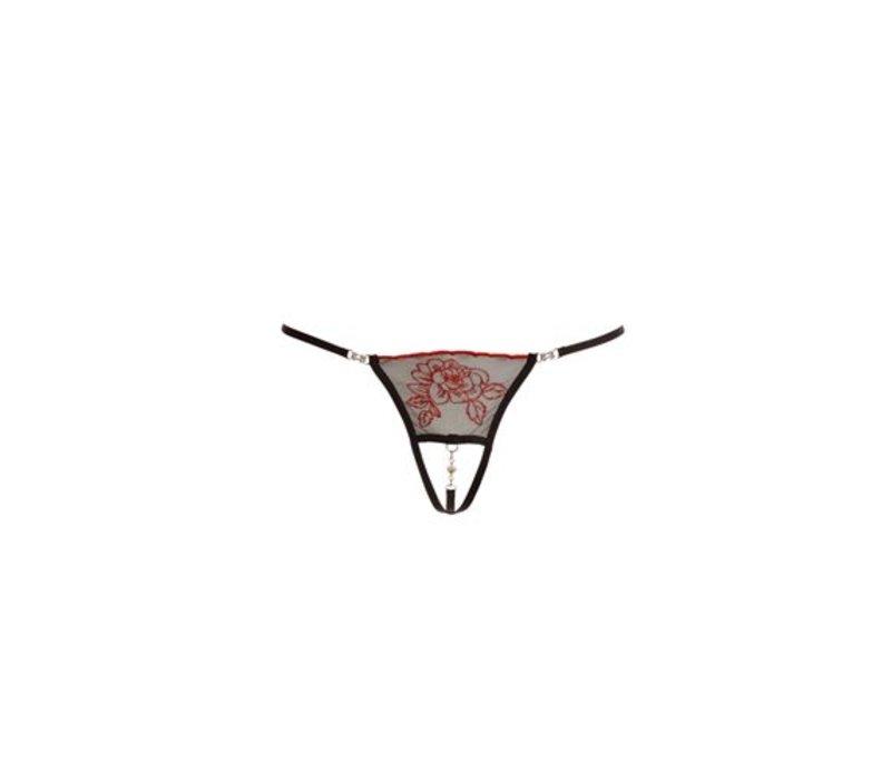 String met strassteentjes - Zwart/Rood